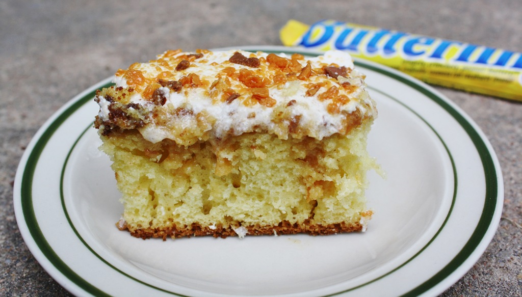 Butterfinger Poke Cake With Sweetened Condensed Milk