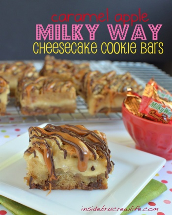 Caramel Apple Milky Way Cheesecake Bars