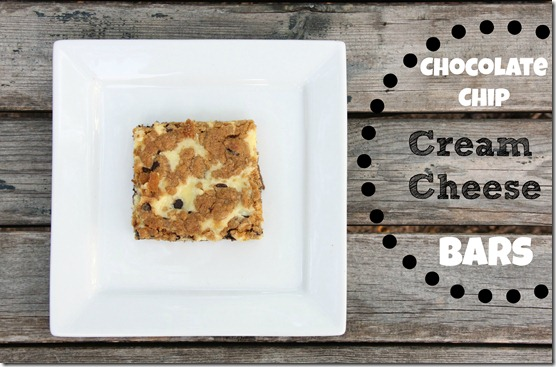 Chocolate Chip Cream Cheese Bars with text