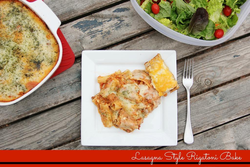 Lasagna Style Rigatoni Bake with Sour Cream Cheesy Bread | 4 little ...