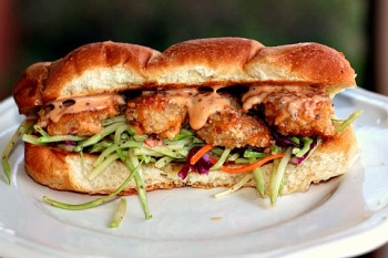 Bang Bang Shrimp PoBoy with Tangy Broccoli Slaw