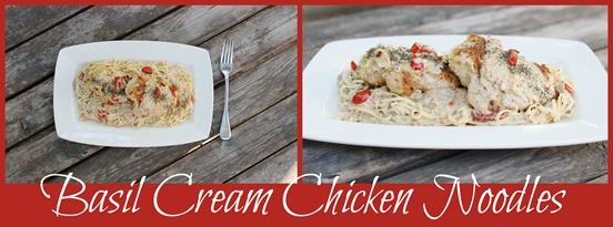 basil cream chicken noodles collage