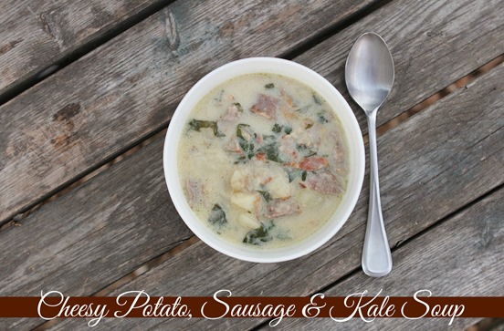 Cheesy Potato, Sausage & Kale soup