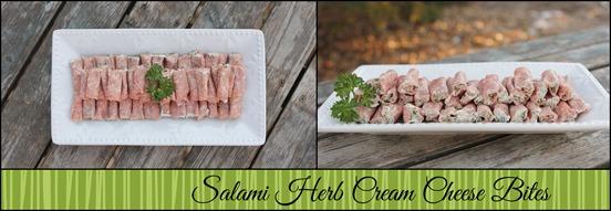 Salami herb cream cheese bites